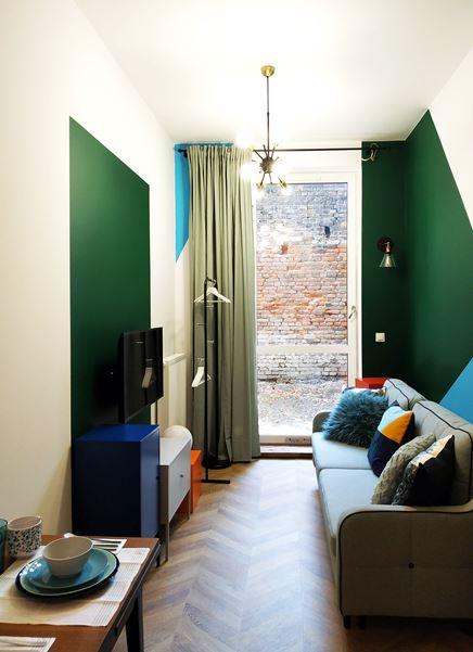 Wąski salon w kawalerce z zielenią