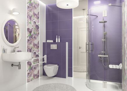 Biało-filetowa łazienka z dekorami