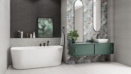 Nowoczesna łazienka z florystycznymi kaflami
