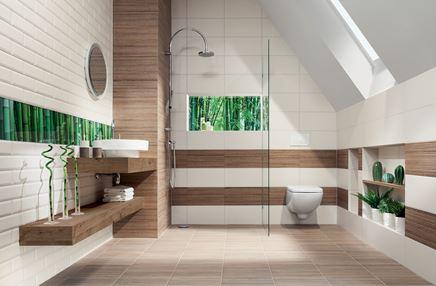 Biało-brązowa łazienka z egzotycznymi akcentami Domino Mozambik
