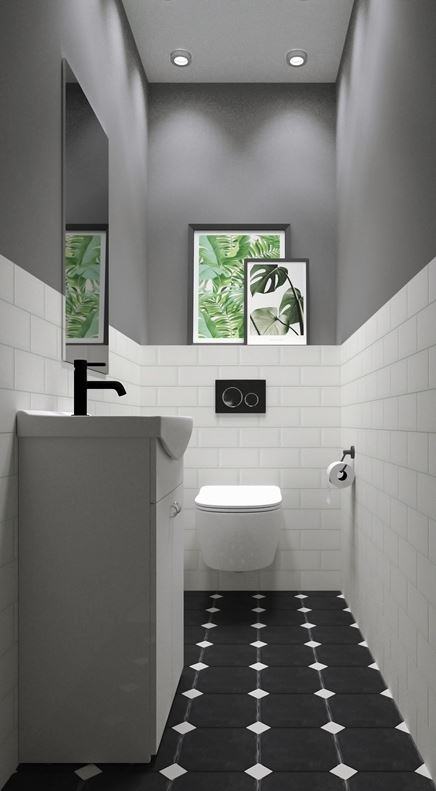 Toaleta z płytką oktagonalną
