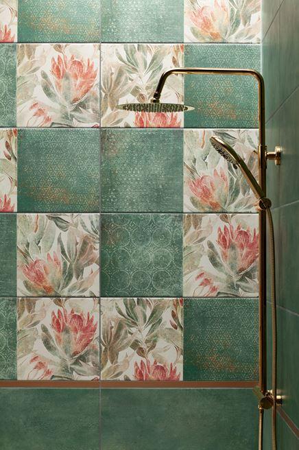 Prysznic z florystycznymi dekorami Domino Margot green