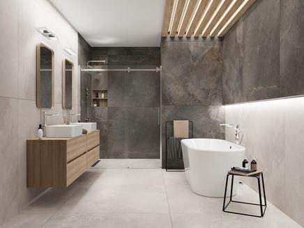 Nowoczesna łazienka w płytach Cerrad Masterstone