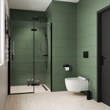 Nowoczesna łazienka w zieleni z jasną podłogą