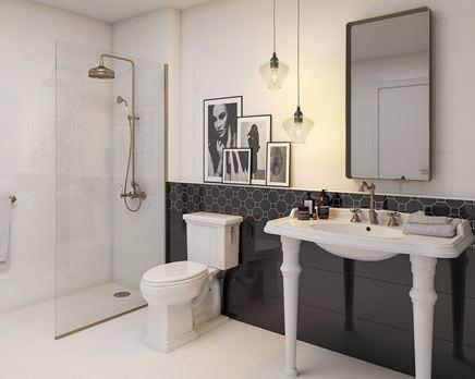 Czarno-biała łazienka w stylu retro Paradyż Martynika