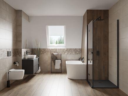 Drewno i beton w łazience z dekoracyjnym inserto