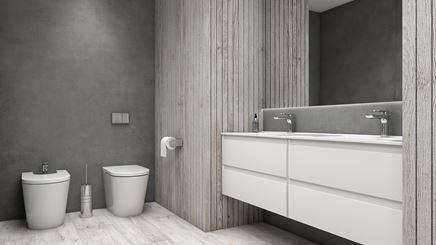 Łazienka w harmonijnych szarościach