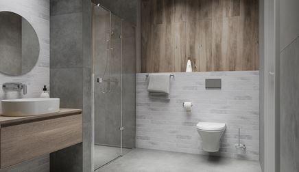 Nowoczesna łazienka z drewnem i cegłą