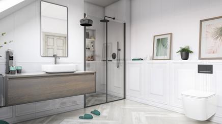Wizualizacja łazienki z kolekcją Paradyż Chevron