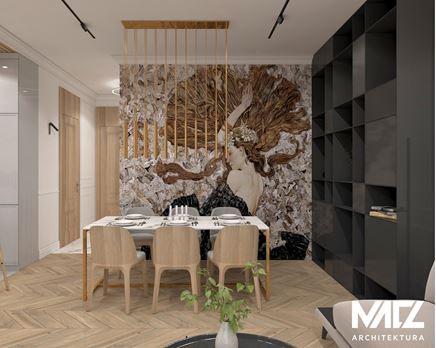 Jadalnia z dekoracyjną tapetą na ścianie