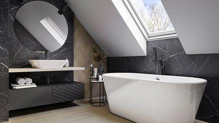 Aranżacja nowoczesnej łazienki na poddaszu w kamieniu i drewnie