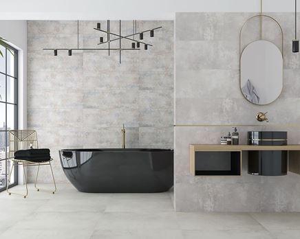 Szara łazienka z czarną ceramiką