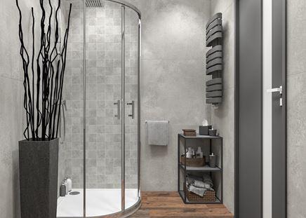 Betonowa łazienka z mozaiką