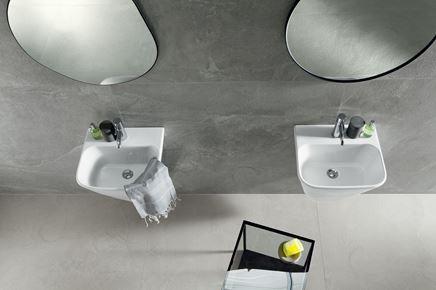 Szara łazienka w kamieniu Tubądzin Grand Cave