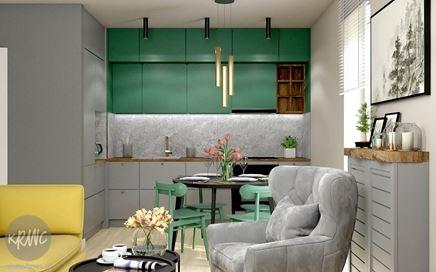 Salon z aneksem kuchennym - dżungla