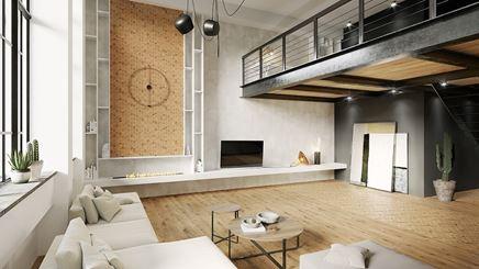 Nowoczesny salon w drewnie