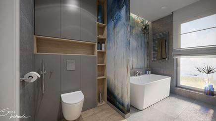 Praktycznie zaaranżowana strefa toaletowa w łazience