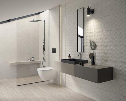 Szara, strukturalna łazienka z kabiną walk-in