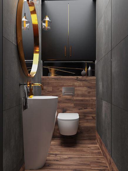 Grafitowa toaleta z drewnianymi wykończeniami