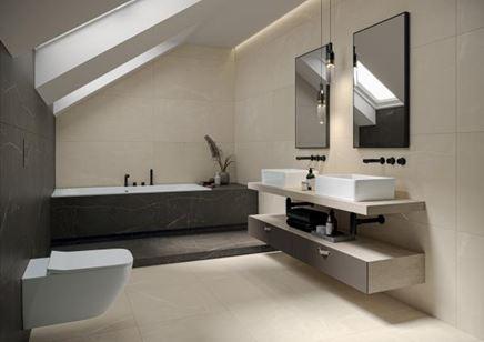Beżowo-szara łazienka w kamieniu