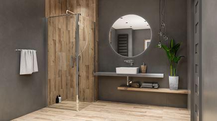 Łazienka z płytką drewnopodobną