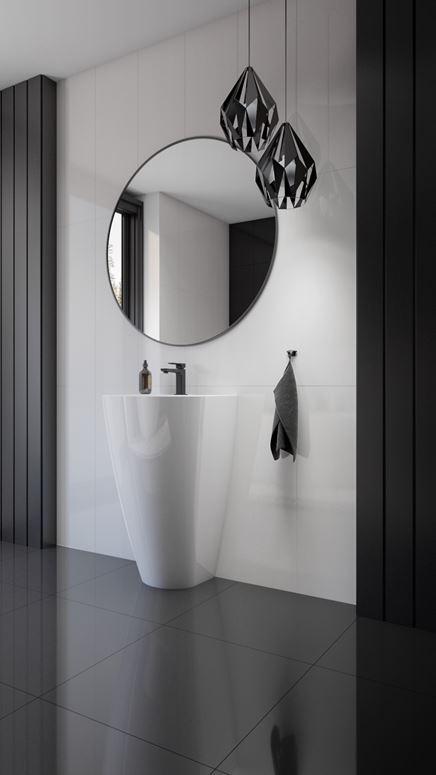 Czarno-biała łazienka z umywalką wolnostojącą