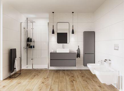 Nowoczesna łazienka w jasnej kolorystyce z dodatkiem drewna