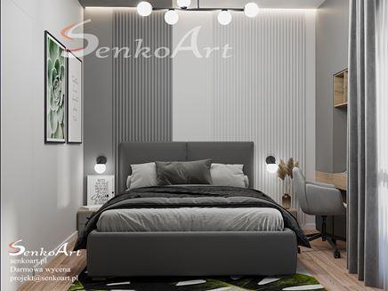 Szara sypialnia ze strukturalną ścianą wezgłowia