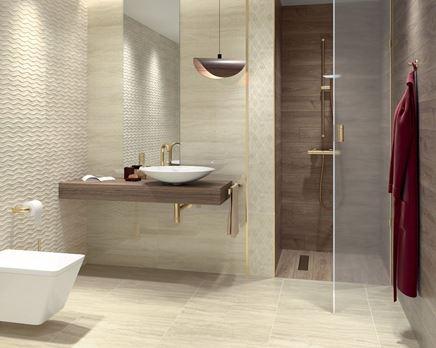 Beżowa łazienka w strukturze w nowoczesnym stylu