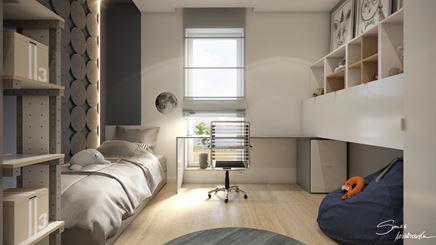 Pokój chłopca ze strukturalnymi panelami