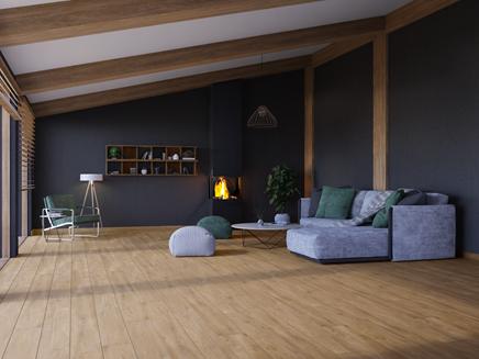 Ciepły salon w jasnym drewnie