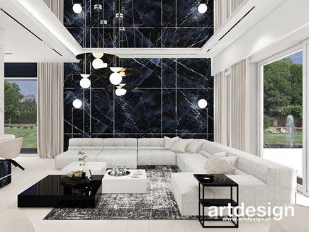 Dekoracyjna ściana z czarnego marmuru w salonie