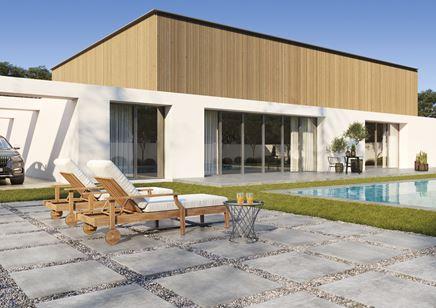 Ogród z betonowymi płytkami