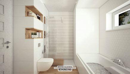 Mała łazienka z prysznicem walk-in i wanną