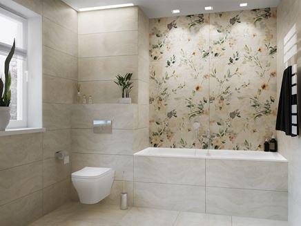 Jasna łazienka z florystycznymi dekorami