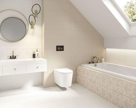Beżowa łazienka pod skosami