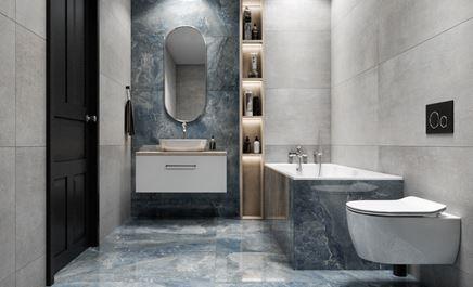 Szara łazienka z kamiennymi wykończeniami w niebieskiej kolorystyce