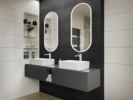 Grafit i biel w nowoczesnej łazience