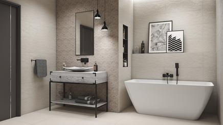 Szaro-biała łazienka Tubądzin Igara