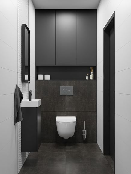 Nowoczesna toaleta w czarno-białej aranżacji