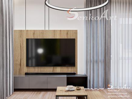 Szara ścianka RTV z akcentem drewna