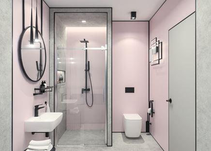 Łazienka z różem i szarością