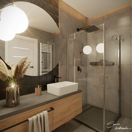 Szaro-grafitowa łazienka z płytkami 3d