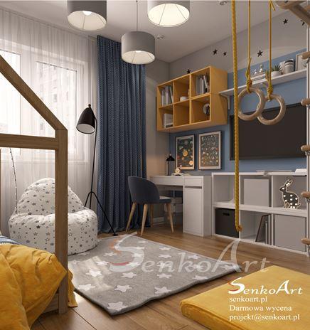 Żółto-niebieski pokój chłopięcy