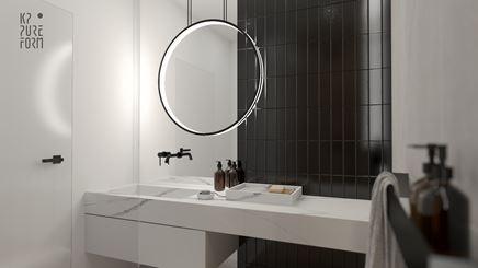 Czarno-biała strefa umywalkowa