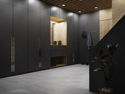 Przestronny korytarz w grafitowym wykończeniu