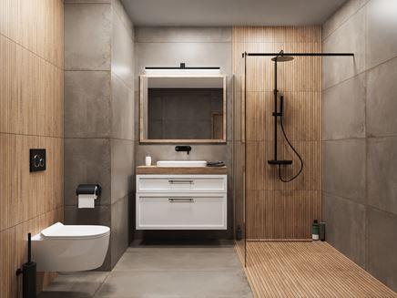 Nowoczesna, betonowa łazienka przełamana drewnem