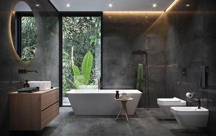 Industrialna łazienka z grafitowymi płytami