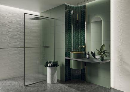 Biało-zielona łazienka w nowoczesnym stylu Paradyż Nightwish