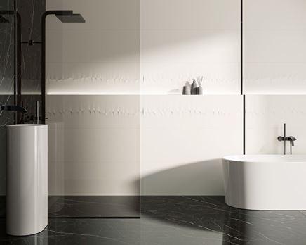 Czarno biała łazienka ze strukturą Paradyż Sleeping Beauty
